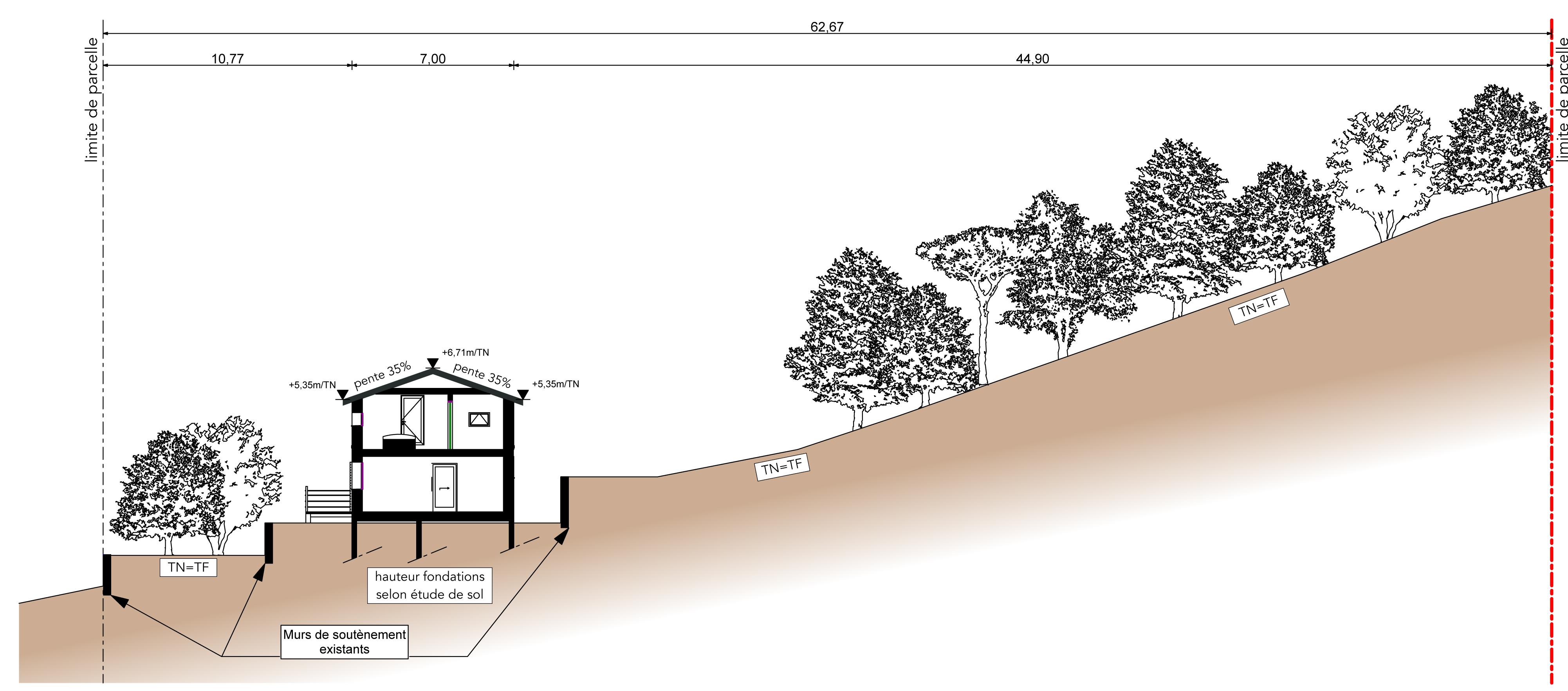 Villa ossature bois esquisse de construction bois for Coupe plan de travail